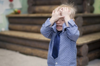 Boy Covering Face Hands Baby Emotions Boy Tie